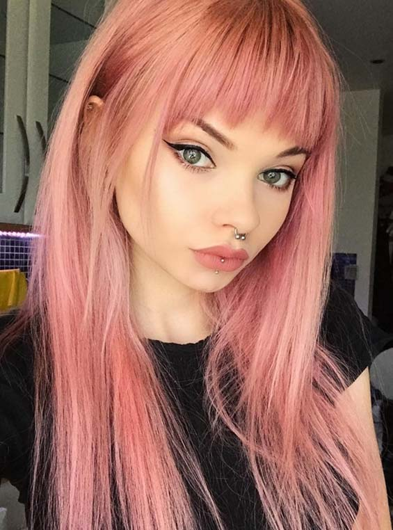 Gorgeous Pink Hair Colors & Hairstyles with Front Bangs for 2018