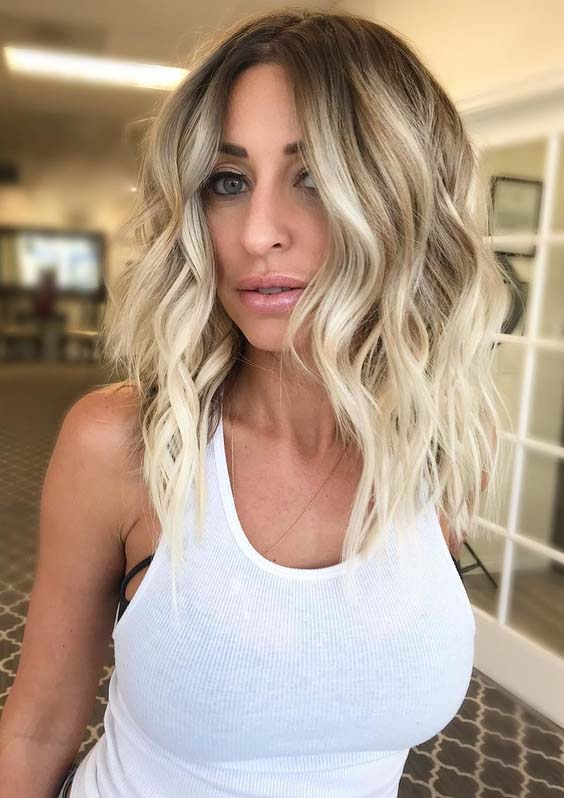 Pretty Blonde Balayage Beach Waves Hairstyles for 2018