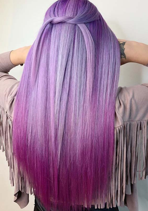 Awesome Purple Hair Color Trends & Shades in 2018