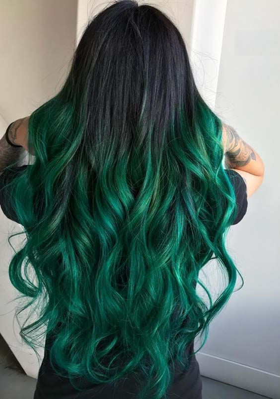 Perfections Of Green Hair Colors for Long Hair in 2018