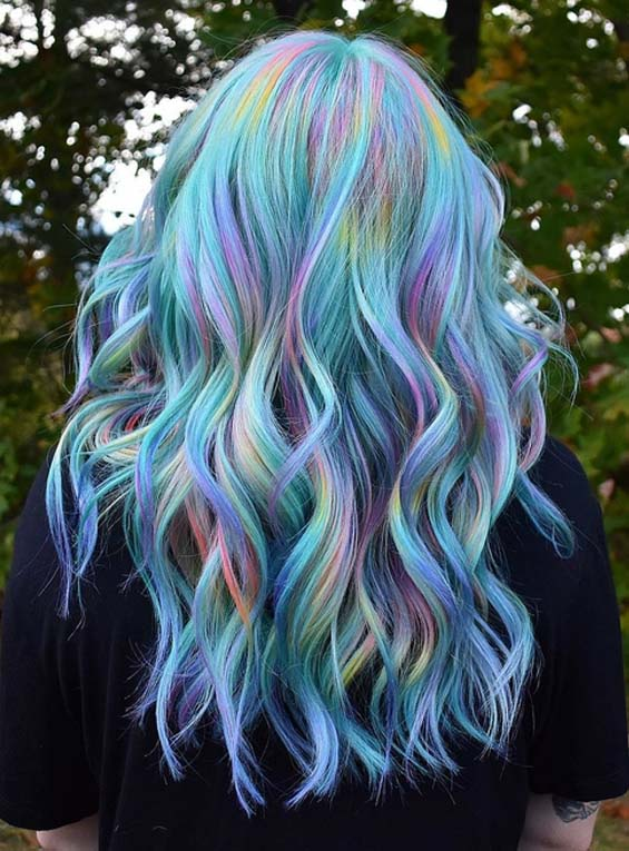 Amazing Rainbow Hair Color Shades & Highlights in 2018