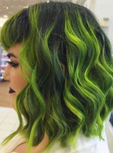 Beautiful Neon Green Lob Hairstyles for Ladies 2018