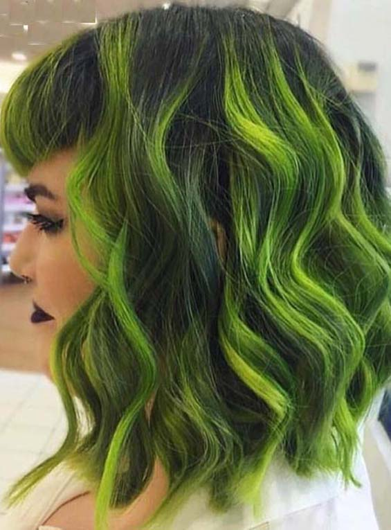 Most Beautiful Neon Green Lob Hairstyles for Ladies 2018