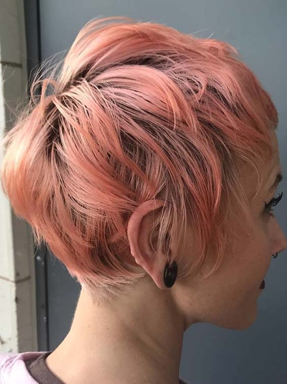 Fashionable Short Pink Pixie Hairstyles for Women in 2018