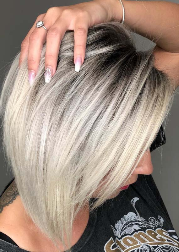 Gorgeous Deep Roots & Ice Blonde Hair Color Styles for 2018