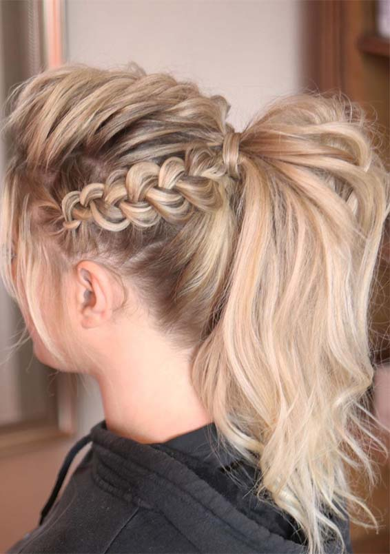 Gorgeous Messy Braided Ponytail Hairstyles in 2021