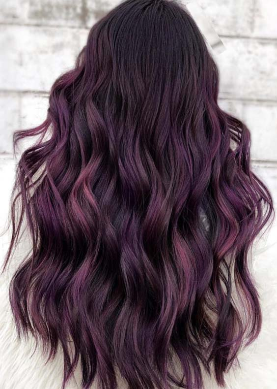 Bright Magenta Colored Long Curly Hairstyles in 2019