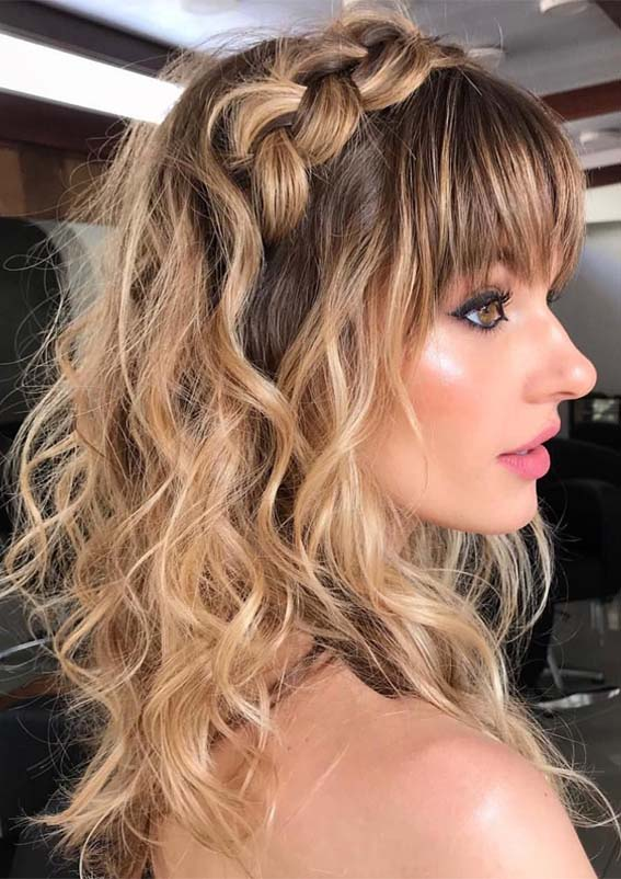 Easy Long Braids with Front Bangs in Year 2019