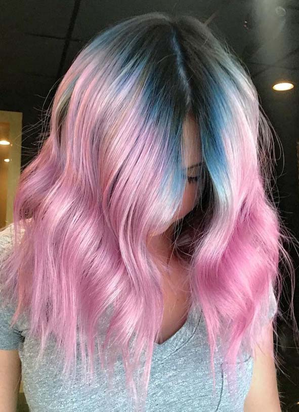 Unique Pink with Blue Melt Hair Color Shades for 2019
