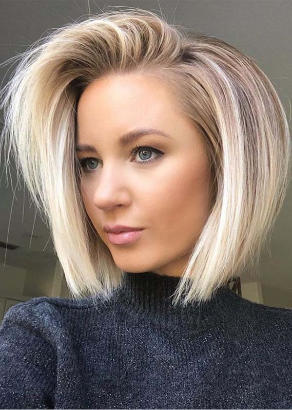 Modern Side Swept Blonde Bob Hairstyles for 2019