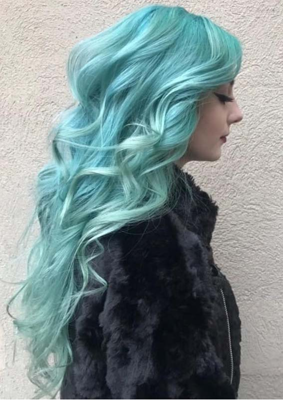 Cutest Unique Green Hair Color Shades For Long Hair In