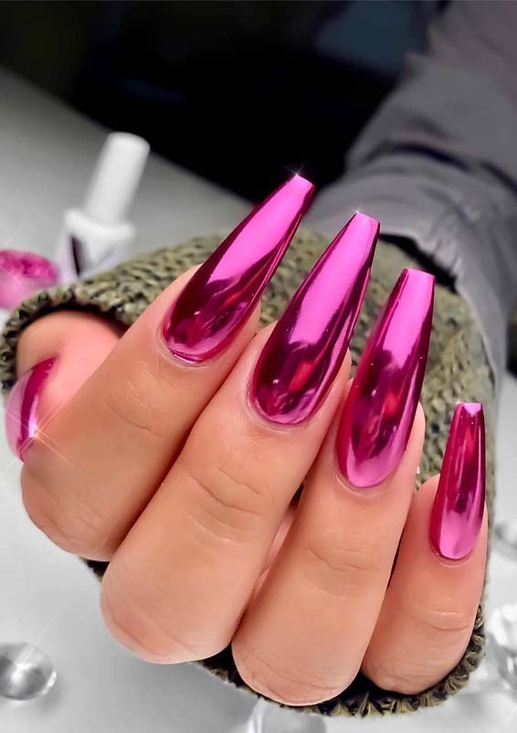 Wonderful Pink Long Nail Designs for Ladies in 2019