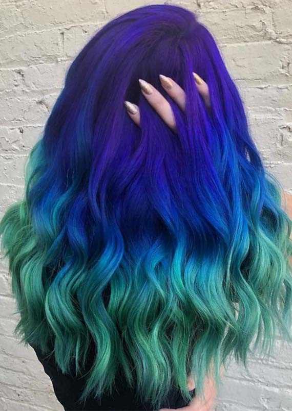 Fresh Blue to Green Hair Colors and Highlights in 2021