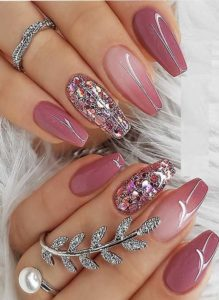 Nice Berry Pink Nail Polish Design for Coffin Nails for 2019
