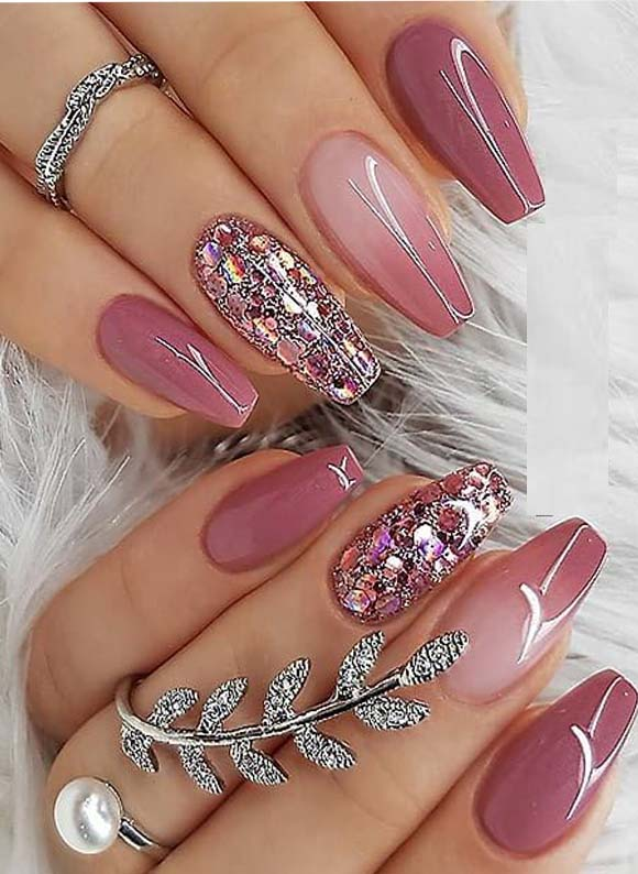 Nice Berry Pink Nail Polish Design for Coffin Nails in  2019