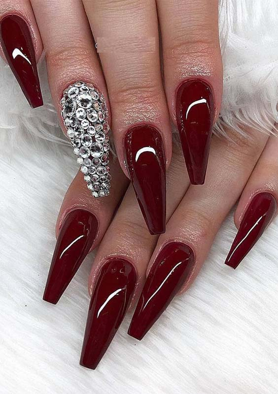 Unique Coffin Glitter Nail Designs & Images for Year 2019