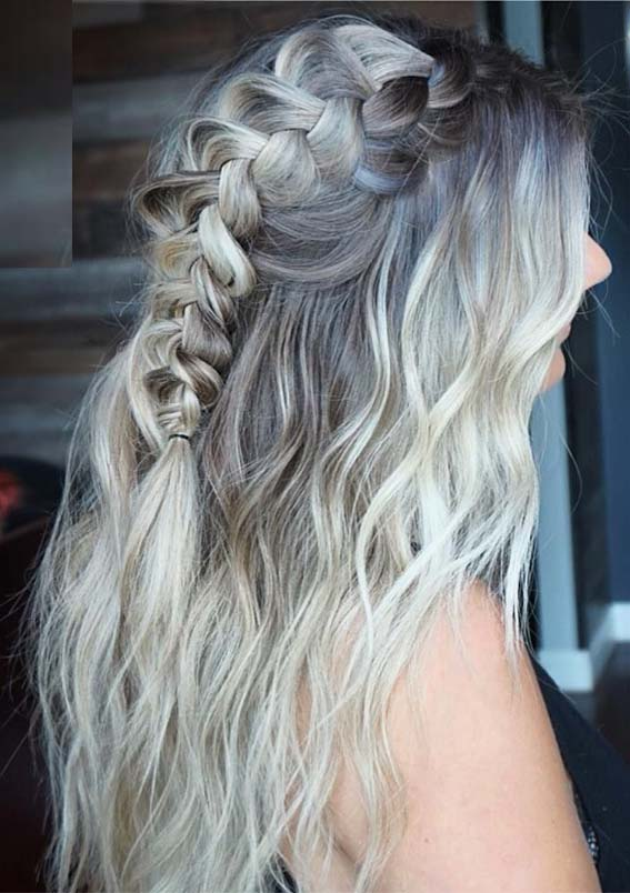 40 Fantastic Half Up Braids for Long Curly Hairstyles in 2019