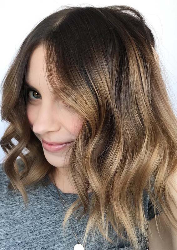Amazing Caramel Balayage on Dark Brown Hair in 2019
