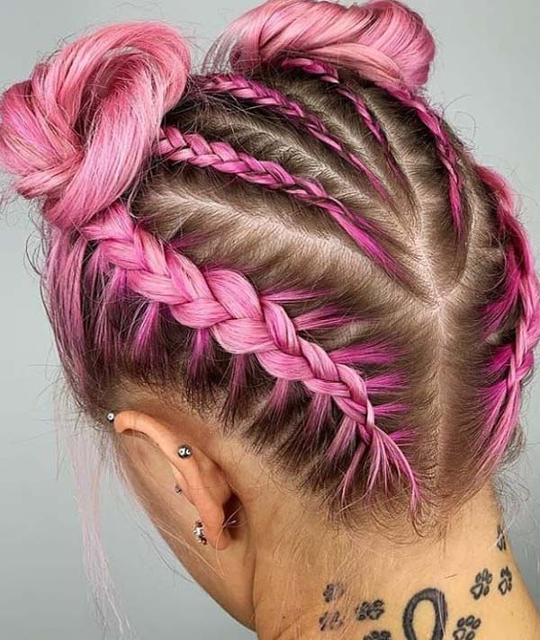 Fantastic Ideas Of Pink Braids Styles You Must See Nowadays