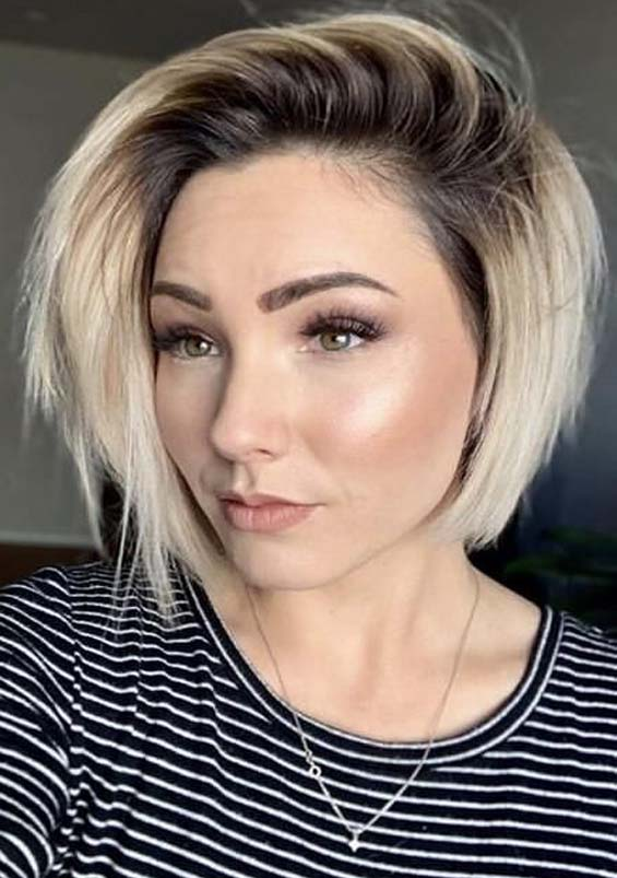 Creative Short Blonde Haircuts with Dark Roots in 2021