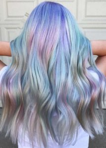 Pastel Hair Color Waves for Long Hair in 2019