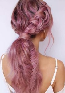 Pretty Pink Braids for Long Hair in 2019