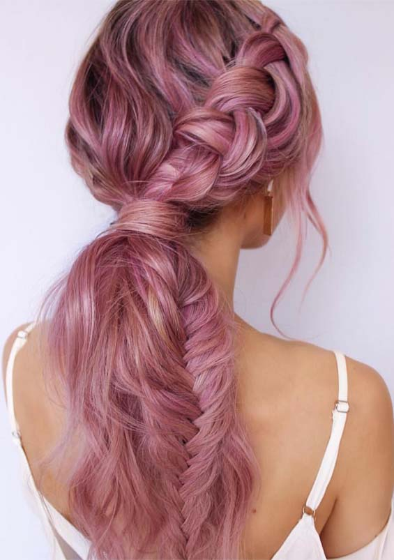 Pretty Pink Braids for Long Hair Looks to Try in 2019