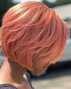 Rose gold razor cut bob styles in 2019