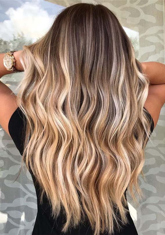 Beautiful Balayage Highlights for Long Waves Hair in 2021