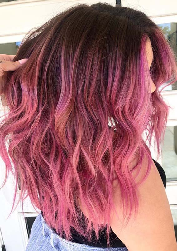Fantastic Pink Shades with Dark Roots to Wear in 2019
