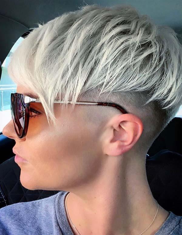 Unique Platinum Blonde Undercut Pixie Haircuts for 2019