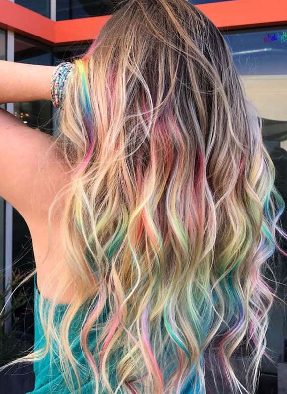 Obsessed Styles Of Rainbow Hair Colors to Show Off in Year 2019