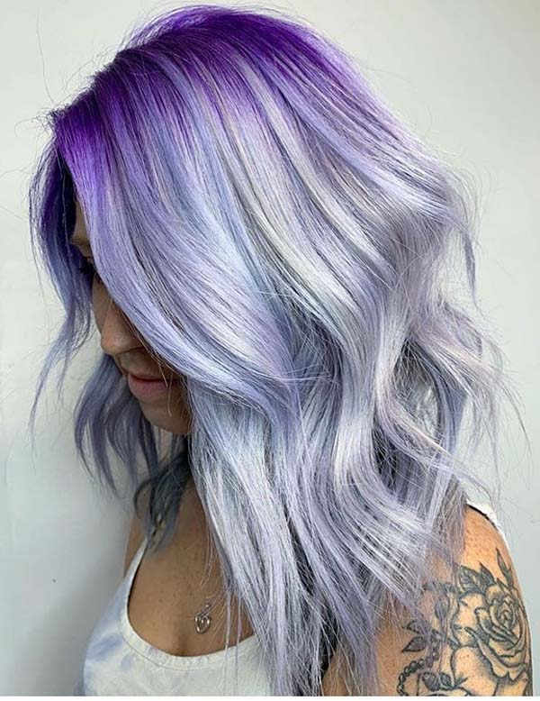 Adorable Purple Hair Colors Highlights & Hairstyles for 2021