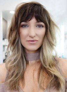 Long Shag Foilayage Hairstyles with Bangs for 2019