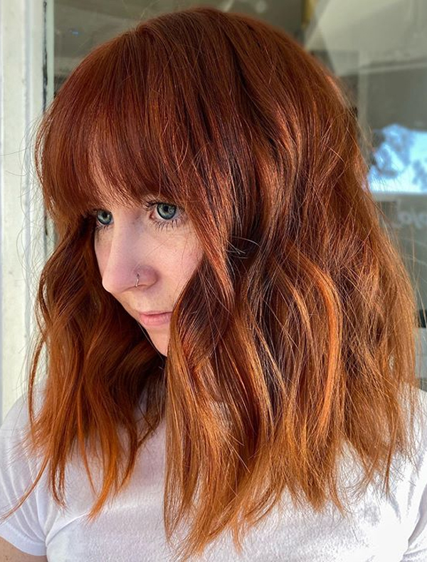 Sensational Red Copper Hair Colors and Hairstyles with Bangs in 2021