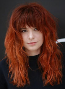 Redhead Long Locks with Bangs to Create in 2020