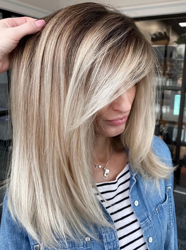 Modern Balayage Highlights with Dark Roots for Women in 2021