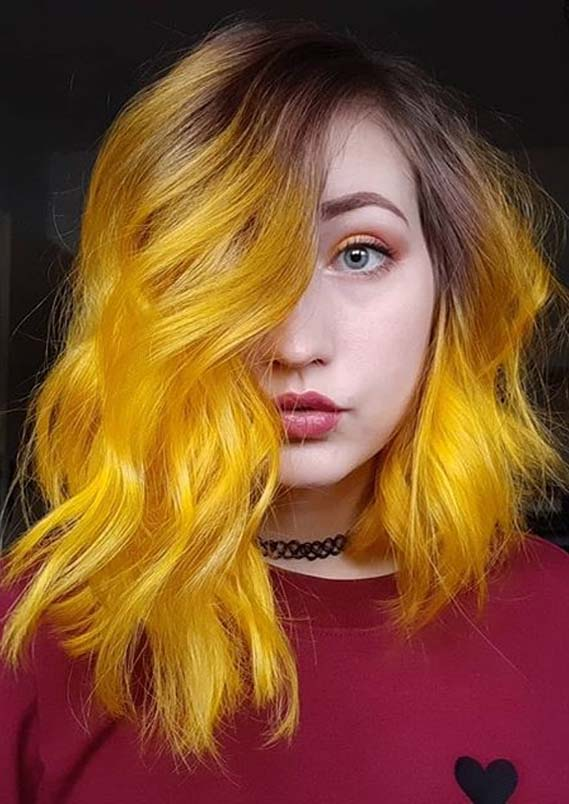Unique Yellow Hair Color Shades with Dark Roots to Show Off in 2020