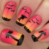44 Cute Sunset Nail Art Designs for Women 2018