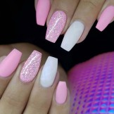 40 Cool Pink Matte Glitter Nail Art Designs for 2021