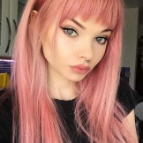Gorgeous Pink Hair Colors & Hairstyles with Front Bangs for 2021