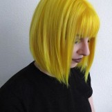 Unique Yellow Short Bob Haircuts with Bangs in Year 2019